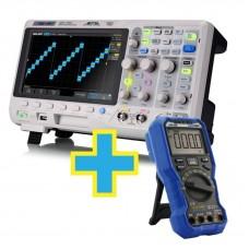 Osciloscópio Digital Siglent SDS1102X 100MHz 2 Canais + Brinde Multímetro Digital Signumtechs OW18B